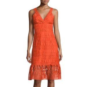 "DVF ""Tiana"" orange lace dress"